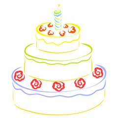 A large cake, a burning candle and flowers