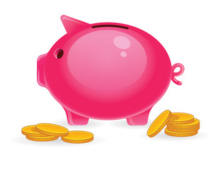 Vector colorful illustration of a piggy bank with a gold coins in front of. Realistic drawn Pink funny pig with money isolated from white background