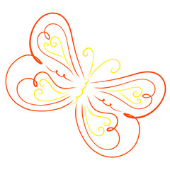 Beautiful colorful flying butterfly with a pattern and hearts