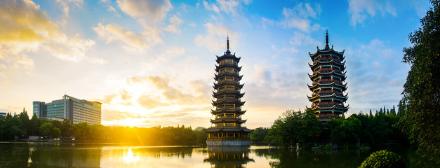 Wall Murals Guilin Sunrise over the pagodas in Guilin, China