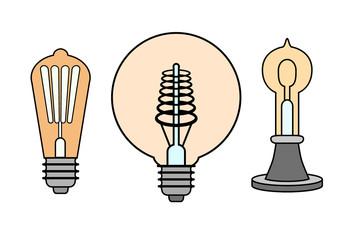 Vintage bulb lamp set