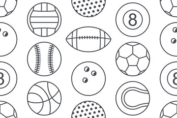 Seamless pattern with collection of Sports Balls. line style. isolated on white background