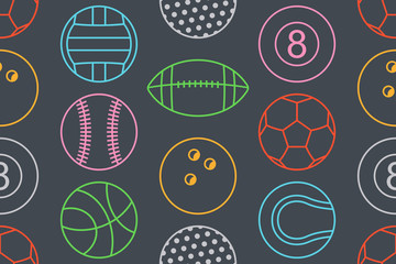 Seamless pattern with collection of Colorfuls Sports Balls. line style. isolated on black background