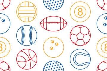 Seamless pattern with collection of Colorfuls Sports Balls. line style. isolated on white background