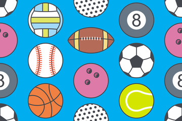 Seamless pattern with collection of Sports Balls. line style. isolated on blue background