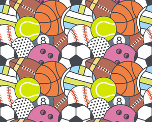 Seamless pattern with collection of Sports Balls. line style. Sports random colorful balls