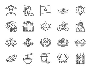 Fototapeta Vietnam icon set. Included icons as Vietnamese, street food , Pho noodle, communist, Ho chi minh, landmarks and more. obraz