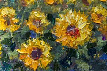 Yellow orange sunflowers - a textured fragment of a close-up oil painting. Impressionism flowers of a sunflower on a canvas