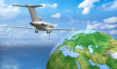 Flugzeug fliegt Erdkugel an mit Ozean, Wellen und Wolken
