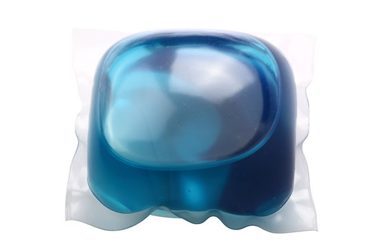 Laundry detergent pod (or pack) isolated on a white background