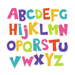 Bright cartoon colorful comic graffiti kids doodle font, alphabet. Vector illustration