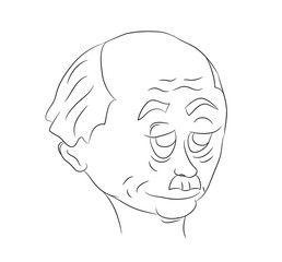 portrait of a male character, lines, vector
