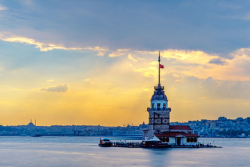 Sunset in Istanbul, Turkey. View of the Maiden Tower and the Bosphorus