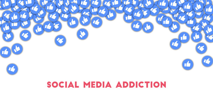 Social media addiction. Social media icons in abstract shape background with scattered thumbs up.