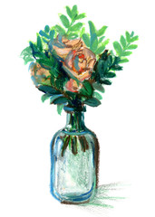 Oil pastel painting. illustration of a bottle with flowers. still life