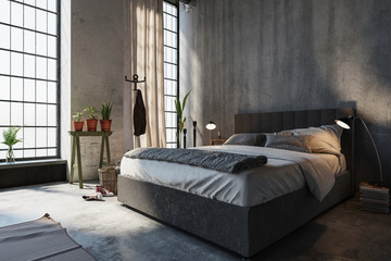 Neat divan style bed in a modern bedroom