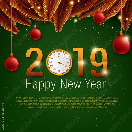 happy new year 2019 background decoration greeting card design template 2019 confetti holiday of