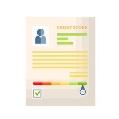 Credit document with history, statistics, indicators of creditworthiness and solvency.