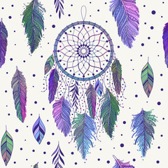Colorful dreamcatchers and feathers seamless pattern