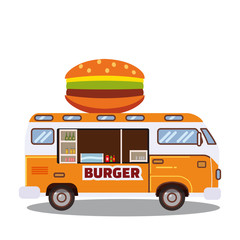 Street food truck, van. Fast food delivery. Fast food car with a big hamburger on a white background. Cartoon style, vector, isolated