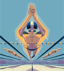 Man swimming in competition