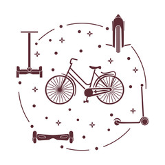 Bike, segway, mono-wheel, scooter, gyroscooter.