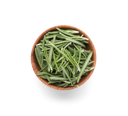 Small bowl with rosemary on white background. Different spices for cooking