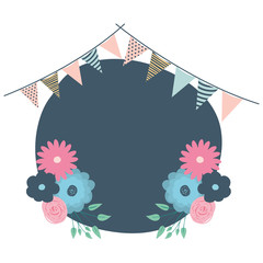 beautiful flowers and garlands circular frame vector illustration design