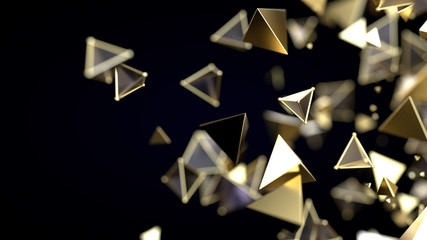 Abstract pyramidal golden particles