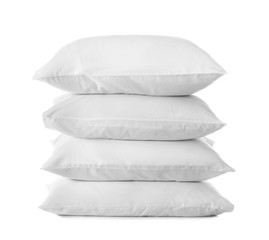 Clean soft bed pillows on white background