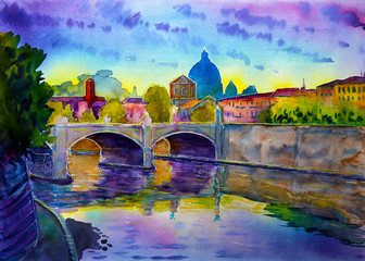 Watercolor of the Basilica Sant Pietro, Tiber river and Ponte Vittorio Emanuele, Vatican, Rome, Italy.
