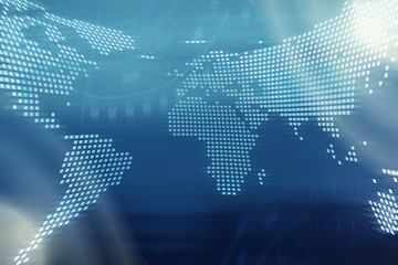 Technology background. Digital world map with technology icons on blurred blue background.