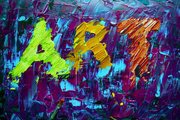 Art abstract sign with acrylic colors