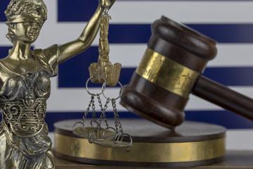 Human Rights Act and Justice Concept ,Greece Flag