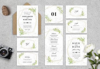 Wedding Stationery Layout  with Leaves and Geometric Shapes