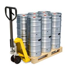 Hydraulic pallet truck with beer metallic kegs, 3D rendering