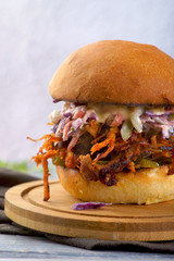 Burger with chopped pork