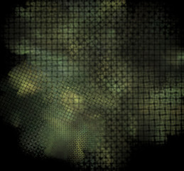 Camouflage pixel fractal on a black background.