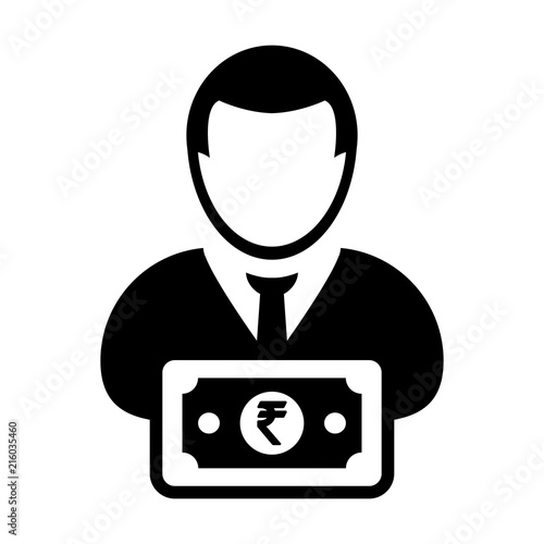 Indian Rupee Symbol Icon Vector Male User Person Profile Avatar With