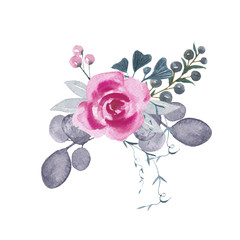 Branch with rose/ decorative watercolor flowers. Floral illustration, botanic composition for wedding or greeting card. Branch of flowers, abstraction roses, romantic