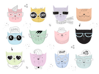 Vector collection of line drawing hipster cats
