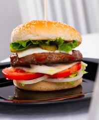Hamburger is tasty dish on the plate