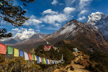 Mt. Everest and Mt. Ama Dablam from monastery Tengboche on route to Everest, Tengboche, Nepal.
