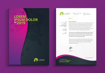 Letterhead Layout with Pink to Purple Gradient Wave Element
