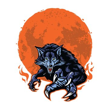 Angry Werewolf and Moon Logo Template Vector Illustration Design