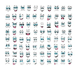 cartoon face expressions set