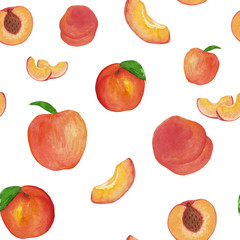 Watercolor pattern with peaches on the white background, watercolour