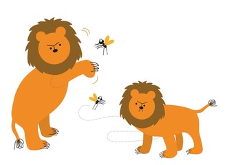 lion and the mosquitoes mocking vector illustration