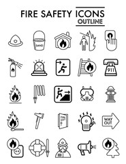 Fire safety line icon set, emergency symbols collection, vector sketches, logo illustrations, alarm signs linear pictograms package isolated on white background, eps 10.