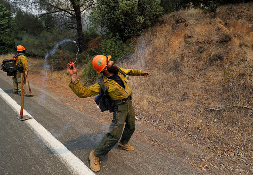 A firefighter throws an incendiary device into the brush to ignite backfires while battling the Ranch Fire north of Upper Lake, California